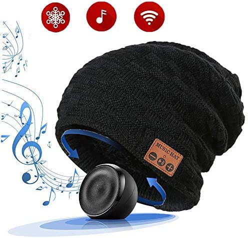 LiiFUNG 028 Wireless Bluetooth 5.0 Beanie Hat with Headphones Great Christmas Tech Gifts for Teen Boys Girls Boyfriend Him Husband Men Dad Women Stocking Stuffers Built-in HD Speaker Mic – Black