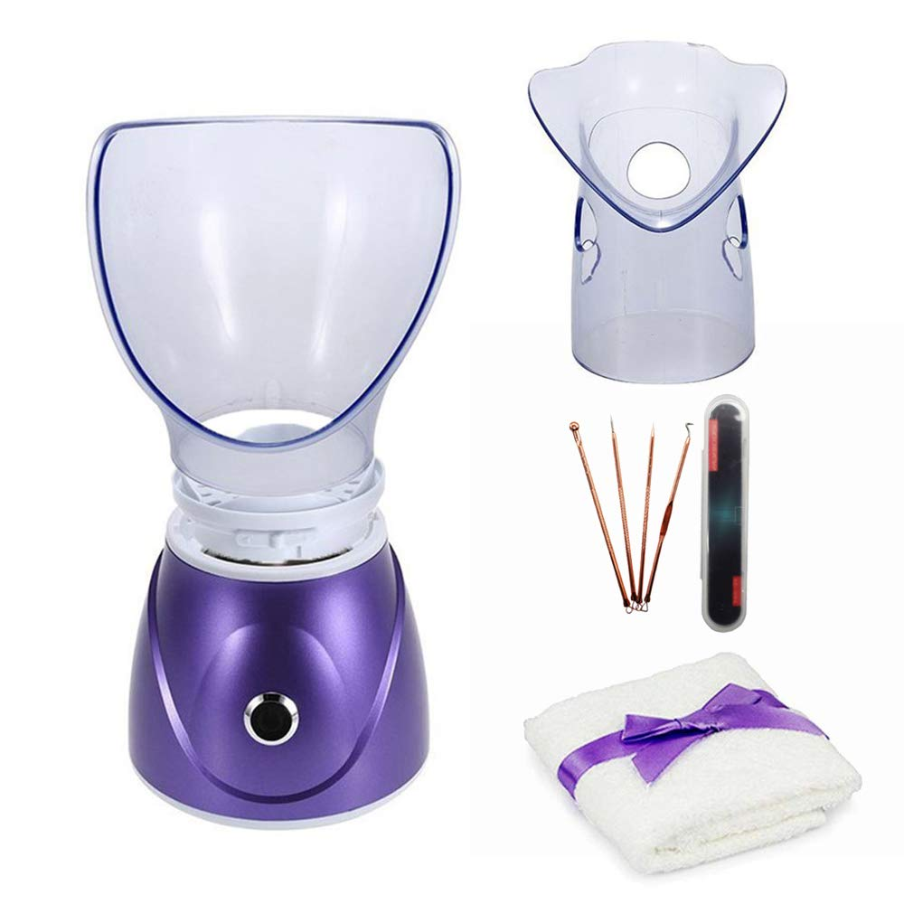 Hann Facial Steamer Professional Sinus Steam Inhaler Face Skin Moisturizer Facial Mask Sauna Spa Steamers with Aromatherapy Diffuser Humidifier Function (Purple)