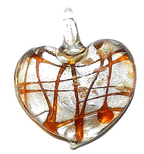 Glass Gold Foil Heart Pendant - Yellow Swirl Silver Foil w Gold Sparkle 45mm Heart Lampwork Glass Pendant #ID-2573