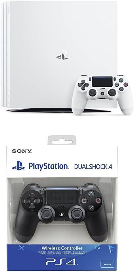 PlayStation 4 Pro (PS4) - Consola, Color Blanco + Dualshock 4 V2 Mando Inalámbrico, Color Negro V2 (PS4): Amazon.es: Videojuegos