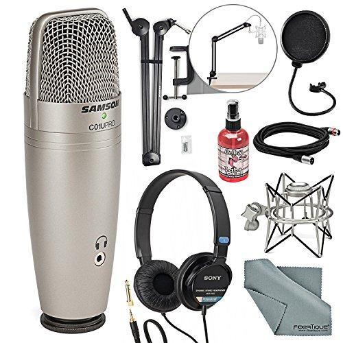 Samson CO1U Pro USB Studio Condenser Microphone Broadcasting Accessory Bundle Mic Pop Filter + Sanitizer + Boom Arm + Headphones + Fibertique Cloth + More -  Photo Savings, PS-Samson C01U