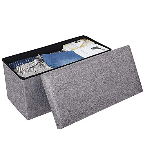 JiatuA Foldable Storage Ottoman Square Cube Foot Rest Stool/Seat Folding Seat Bench & Footrest Linen Fabric Ottomans Bench Coffee Table Puppy Step for Bedroom, Living Room, Entrance (Stools Coffee With Table Storage)