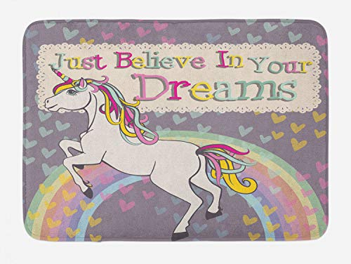 Bath Believe (Ambesonne Feminine Bath Mat, Unicorn Figure with Believe in Your Dreams Inspiring Quote Illustration, Plush Bathroom Decor Mat with Non Slip Backing, 29.5 W X 17.5 L Inches, Beige and Lilac)