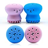 Facial Brush Irritation - Top Rated Silicone Cleansing Brush by Wonash | Exfoliating & Massaging Silicone Facial Brush | Octopus Facial Brush Cleaner for Girls | Deep Pore Cleansing Brush for All Skin Type | Blue & Pink Color