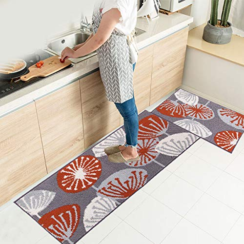 HEBE Kitchen Rug Sets 2 Pieces Non Skid Machine Washable Kitchen Rugs and Mats Set Kitchen Mat Rug Runner Set Indoor Outdoor Entry Rug Floor Carpet,18″x28″+18″x48″