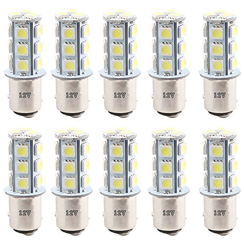 EverBright 10-Pack Super White 360Lums 1157 BAY15D 1016 1034 7528 1157A 2057 Base 18 SMD 5050 LED Replacement for Car Incandescence Bulb Tail Rear Brake Turn Bulb Stop Backup Lamp Parking Side Marker Lights DC 12V