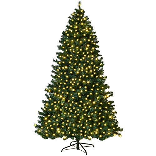 Goplus 7FT Pre-Lit PVC Artificial Christmas Tree Auto-Spread/Close up Premium Spruce Hinged w/ 300 LED Lights & Metal Stand, Green (7 FT) (Pre Lit Artificial Christmas Trees On Sale)