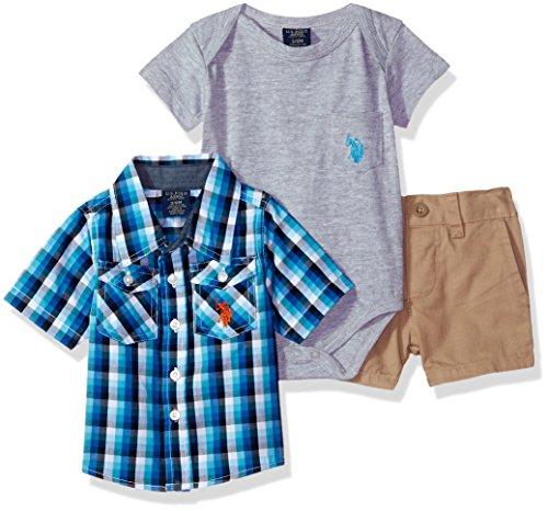 Boys Sleeve Shirt, T-Shirt and Short Set, Blue Plaid with Chambray Trim Woven Multi Plaid, 3-6 Months (Baby T-shirt Bodysuit Short)