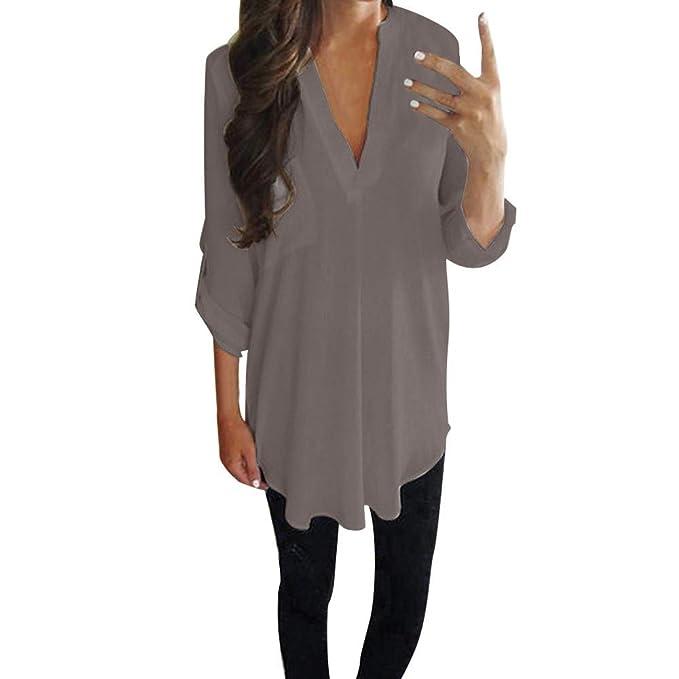 Damen V-Ausschnitt Bluse 3//4 Chiffon Langarm Slim Oversize T-Shirt Bluse Lose Tops S-XXL