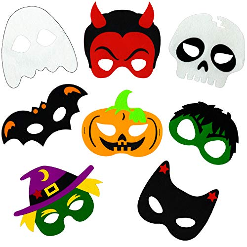 Halloween Masks for Kids - 8 Felt Masks,