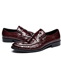 Premium Alligator Leather Tassel Loafers Mens Slip On Dress Shoes