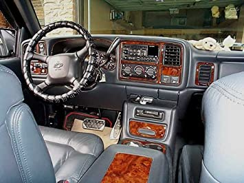 CHEVROLET CHEVY SILVERADO INTERIOR BURL WOOD DASH TRIM KIT SET 1999 2000  2001 2002