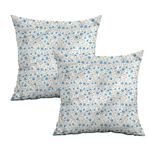 "Khaki home Flower Square Pillowcase Protector Field Flowers Swirls Square Kids Pillowcase Cushion Cases Pillowcases for Sofa Bedroom Car W 16"" x L 16"" 2 pcs"