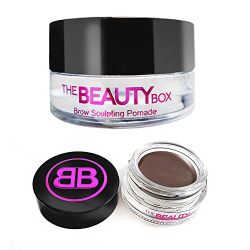 The Beauty Box Brow Sculpting Pomade, Smudge-Free, Waterproof Eyebrow Pomade, Fill and Texturize, 7 shades, 4g. (Medium Brown)