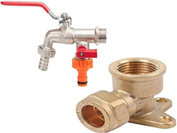 Brown 3//4 Inch Grey Ibergrif M22203 M22203-Double Outdoor tap with Outlet Valve G1//2 Inch Brass Garden Hose Connector