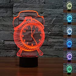 3D Alarm Clock Night Light Table Desk Optical Illusion Lamps 7 Color Changing Lights LED Table Lamp Xmas Home Love Brithday Children Kids Decor Toy Gift