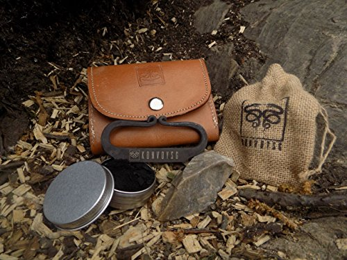 KonvoySG Carbon Steel Fire Striker, English Flint Stone & Char cloth Traditional Hand Forged Fire Starter, Leather Gift Kit With Emergency Tinder Jute Bag