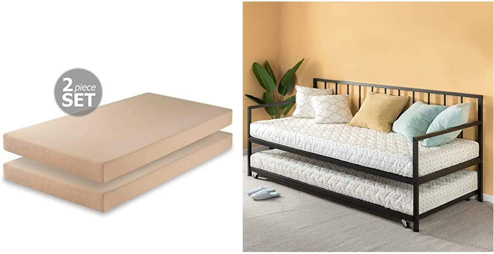 Zinus 5 Inch Memory Foam Twin Mattress (Set of 2) & Eden Twin Daybed and Trundle Set/Premium Steel Slat Support/Daybed and Roll Out Trundle Accommodate Twin Size Mattresses Sold Separately