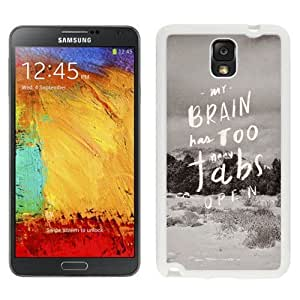 NEW Custom Designed For SamSung Galaxy S4 Case Cover Phone With My Brain Has Too Many Tabs Open_White Phone