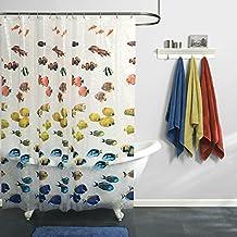 Maytex Mills New School Fish PEVA Vinyl Shower Curtain, Clear