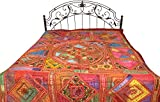 Multicolor Antiquated Bedspread from Kutch with Embroidered Patches and Mirrors - Pure Cotton