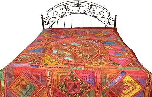 Multicolor Antiquated Bedspread from Kutch with Embroidered Patches and Mirrors - Pure Cotton by Exotic India