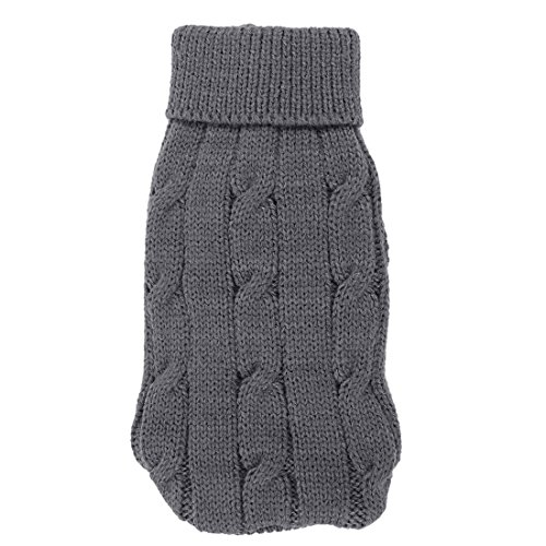 uxcell Pet Chihuahua Twisted Knit Turtleneck Apparel Sweater, XX-Small, Gray (Gray Dog Knit Sweater)