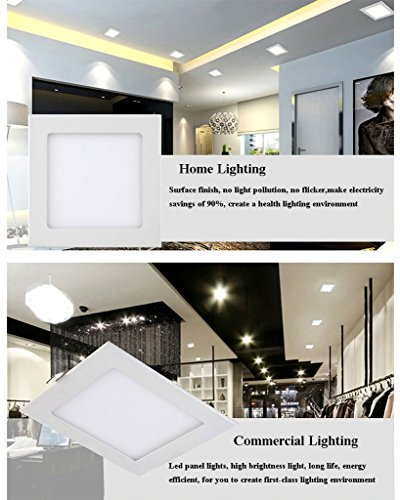 B-right 15W 7-inch Dimmable Square LED Panel Light Ultra-thin 1200lm 5000K Cool White LED Recessed Ceiling Lights for Home Office Commercial Lighting by B-right (Image #7)