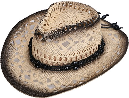 [TAUT Children Woven Straw Cowboy Hat for Summer, Black/Natural] (Drinking Hats With Straws)