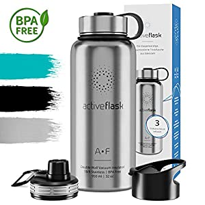 Stainless Steel Water Bottle ACTIVE FLASK + 3 Drinks Lids | Leak-Proof & BPA-free, Vacuum Insulated Drinking Bottles | 1l/500ml Outdoor Thermos Mug – 12h Hot / 24h Cold, Tea Coffee, Sports Camping Gym