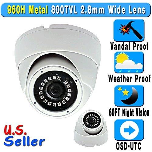 800TVL 960H 2.8mm Wide Angle Lens 24IR Night Vision Vandal W