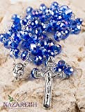 Best Nazareth Market Store Man Medallions - Catholic Blue 10mm Crystal Beads Rosary Holy Soil Review