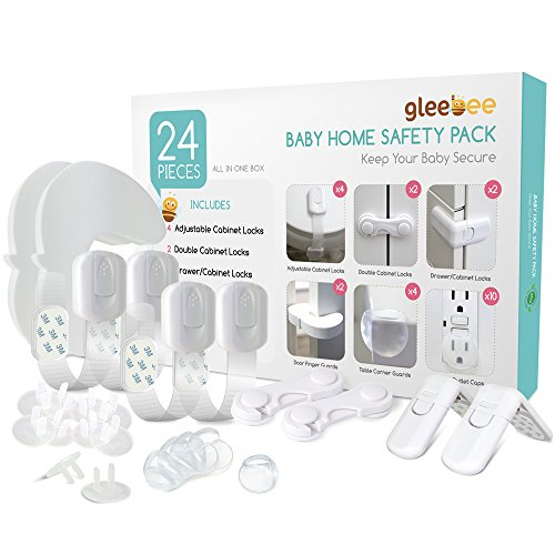 Gleebee Top Quality Baby Safety Kit: Adjustable Safety Locks for Toilet Seat, Trash Can, Drawers, Double Doors Cabinet & Refrigerator|Table Corner Guards|Finger Pinch Guards| Outlet Caps