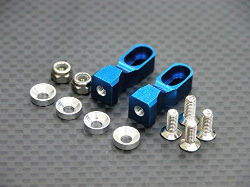 Tamiya TT-01 Upgrade Parts Aluminum Servo Mount With Collars / Lock Nuts / Screws - 1Pr Set Blue (Servo Blue Aluminum Mounts)