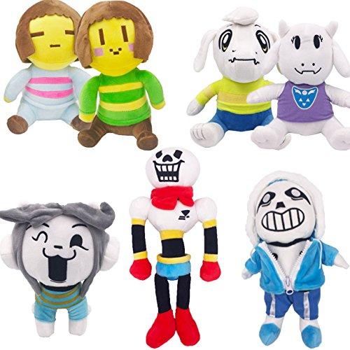 Shalleen 7PCS Undertale Plush Toy Stuffed Doll Sans Papyrus Temmie Toriel Asriel Kid (Darkstalkers Felicia Cosplay Costume)