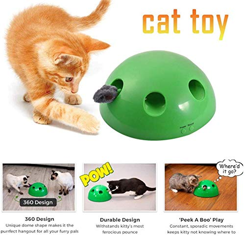LUEXW Interactive Cat Toys - Cat Training Exercise Funny Play Toys Rotating Feather Mouse - Cat Kitten Automatic Spinning Chase Toy Low Noise 3