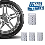 Valve Caps Prevent Corrosion,Car Dust Caps,Carsemoo Universal Aluminum&Plastic Wheel Tire Air Caps Valve Stem Cover For Car/Motorcycle,Air Leakproof And Protection Your Valve Stem (Silver 4 Pcs/Set)