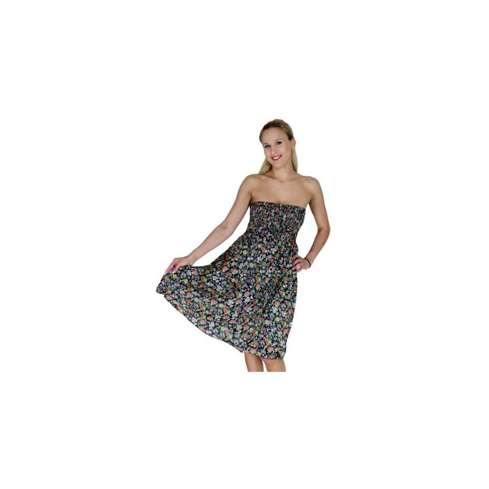 La Leela Cotton Multicolor Floral Print Backless Halter Short Casual Tube Dress