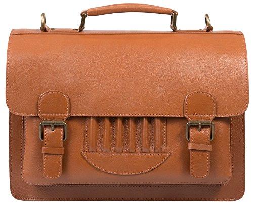 Vintage Leder Aktentasche, Laptop Tasche Neu Mit Etikett (Hellbraun) Hellbraun