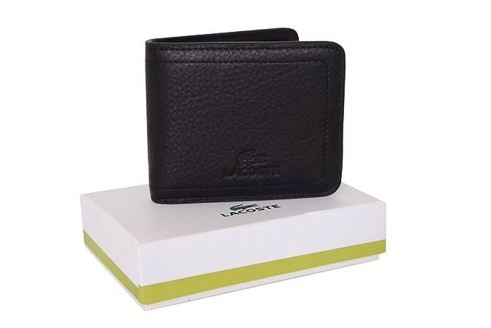 Billetera Lacoste de cuero color negro con monedero para hombre: Amazon.es: Zapatos y complementos