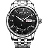 BUREI Men's Automatic Watch with Day and Date Black Dial Metal Band