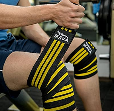 "Mava Sports Knee Wraps (Pair) with Velcro for Cross Training WODs,Gym Workout,Weightlifting,Fitness & Powerlifting - Best Knee Straps for Squats - For Men & Women- 72""-Compression & Elastic Support"