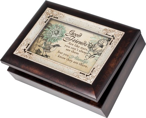 Cottage Garden Good Friends Burlwood With Silver Inlay Italian Style Music Box/Jewelry Box Plays Thats What Friends Are For by Cottage Garden