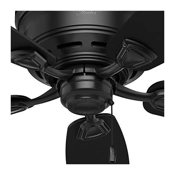 Hunter Indoor / Outdoor Low Profile Ceiling Fan, with pull chain control - Sea Wind 48 inch, Black, 53118 7 WhisperWind motor delivers ultra-powerful air movement with whisper-quiet performance so you get the cooling power you want without the noise you don't Reversible motor allows you to change the direction of your fan from downdraft mode during the summer to updraft mode during the winter 5 Matte Black Plastic blades included