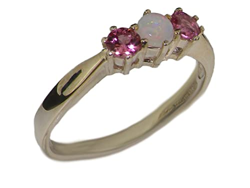 925 Sterling Silver Real Genuine Opal and Pink Tourmaline Womens Trilogy Anniversary Ring