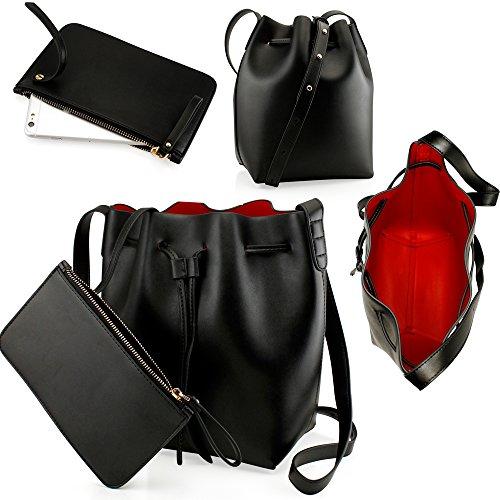 oct17-black-women-fashion-handbag-faux-leather-bucket-bag-tote-shoulder-retro-crossbody-purse-small-