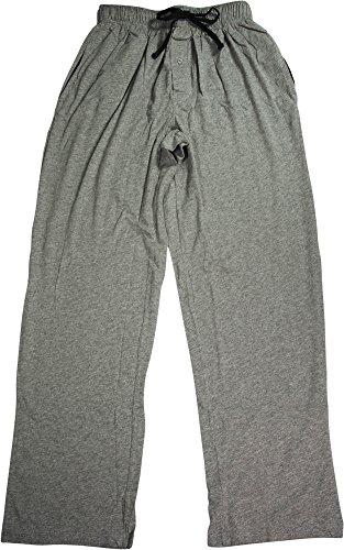 Stripe Waist Fleece Pant - Hanes Men's Solid Knit Pant (Medium, Grey/ Black)