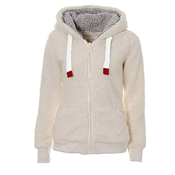 Amazon.com: Clearance TIFENNY Ladies Soft Teddy Hooded Jumper Hoody Jacket Coat with Pocket Plush Loose Tops: Clothing