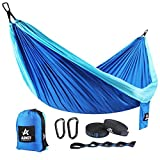 Double Camping Hammock - Travel Portable Two People Hammock with Carabiner Lightweight Doublenest Single Hammock with Tree Straps for Backpacking, Hiking, Camping, Beach, Yard. 125'' (L) x 79''(W)