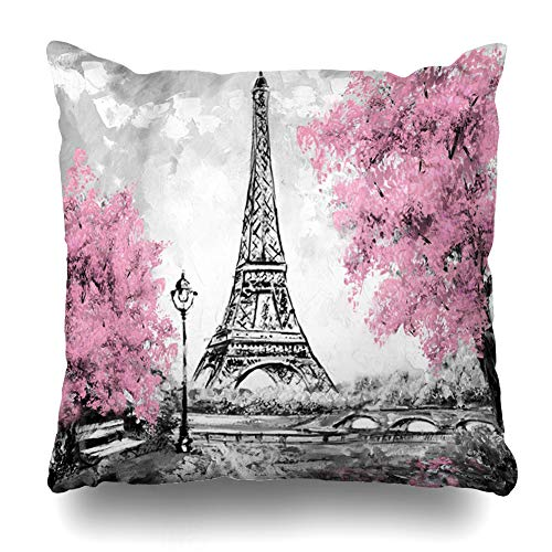 AileenREE Throw Pillow Covers French Oil Sketch Painting Paris European City France Eiffel Tower Black White Pink Modern Trees Pillowcase Square Size 16 x 16 Inches Home Decor Cushion Cases